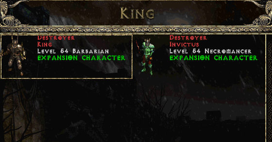 Character selection screen, Diablo 2